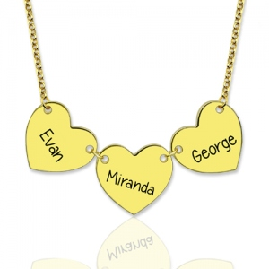 Custom Engraved 3 Hearts Name Necklace Gold Plated