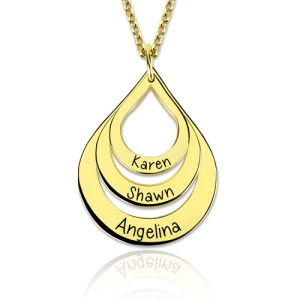 Engraved Drop Shaped 3 Names Necklace Gold Plated