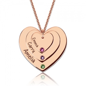 Triple-Heart Name Necklace With Birthstones In Rose Gold