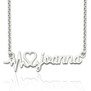 Personalized Heartbeat Name Necklace Sterling Silver