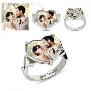 Engraved Heart Shaped Wedding Photo Ring Sterling Silver