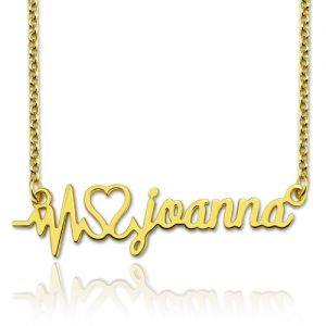 Personalized Heartbeat Name Necklace Gold Plated Silver