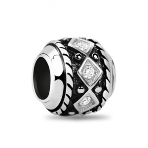 Glittering Rhombus Crystal Bead Sterling Silver