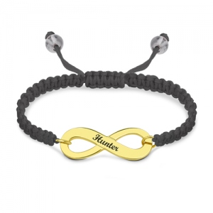 Distinguished Engraved Infinity Symbol Cord Bracelet Gold Plated