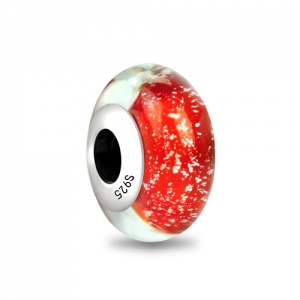 Red Frazil Murano Glass Bead