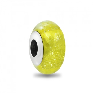 Yellow Ice Crystal Murano Glass Bead