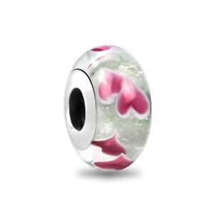 Pink Hearts Murano Charm