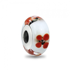 Red Flower Murano Glass Charm