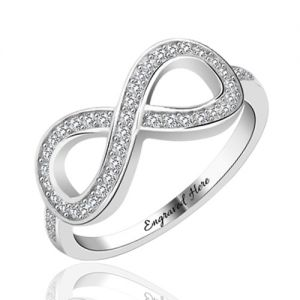 Engrave Infinity Ring with Cubic Zirconia Platinum Plated