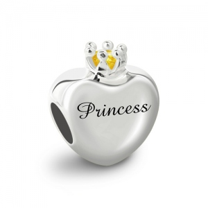 Engraved Birthstone Crown Charm Sterling Sliver