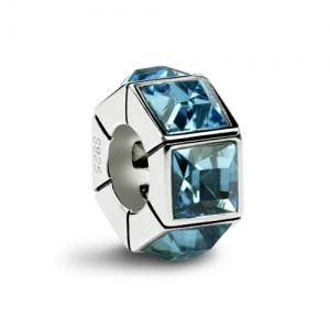 Aquamarine Hexagon Bead Charm