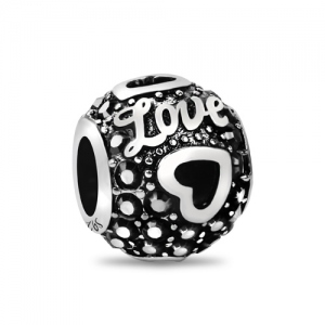 Fabulous Love Heart Bead With Black Birthstone