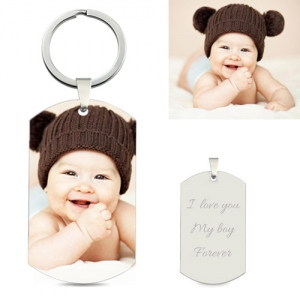 Custom Baby's Photo Keychain Stainless Steel