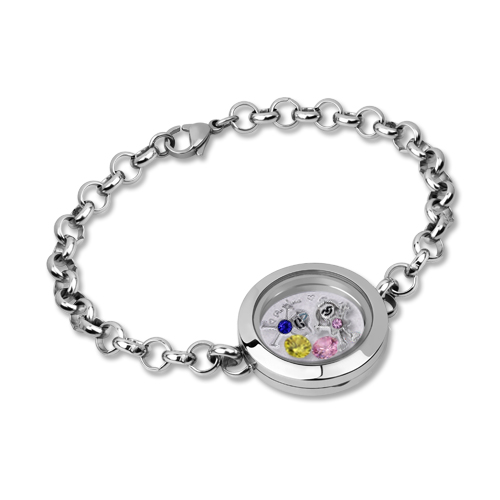 Pulseira com pedra zodiacal e medalhão oscilante com amuleto para criança em aço inoxidável