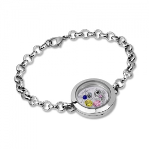 Kids Charm Floating Locket Birthstone Bracelet Stainless Steel