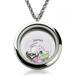 Engraved Baby Feet Floating Charm Circle Locket for Mom