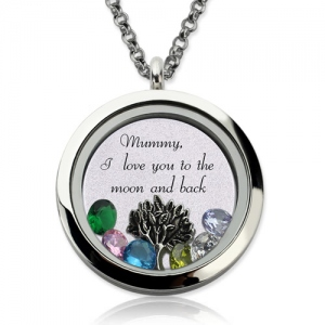 Personalized Family Floating Crystal Living Locket Stainless Steel