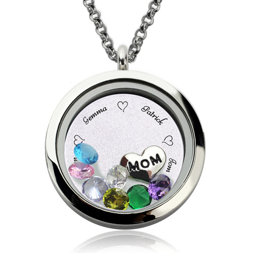 Customizable engraved floating charm locket for mom or grandma aloadofball Image collections
