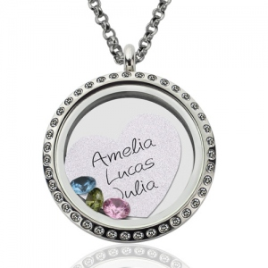 Engraved Love Floating Locket With Birthstone
