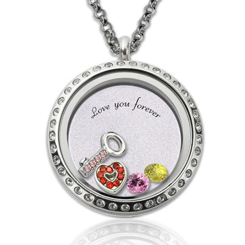 """Medalhão flutuante redondo """"chave para o meu coração"""" com pedra zoadiacal"""