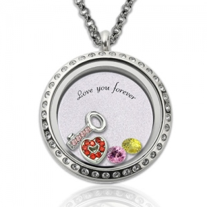 Round 'Key to My Heart' Floating Locket With Birthstone