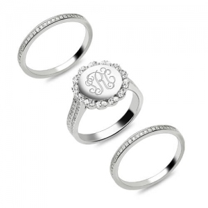 Stackable Monogram Ring With Cubic Zirconia