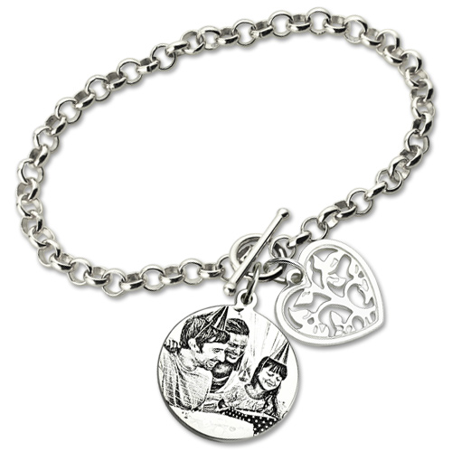 Engraved Photo Amp Heart Charm Mother S Bracelet Sterling Silver