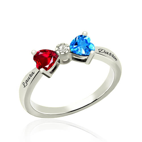 Custom Heart Birthstone Bow Couples Names Ring Sterling Silver