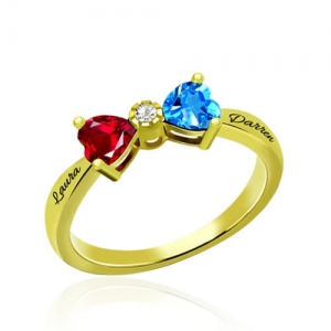 Custom Heart Birthstone Bow 2 Names Ring Gold Plated
