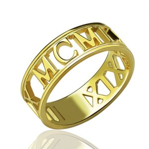 Personalized Roman Numerals Ring in Gold