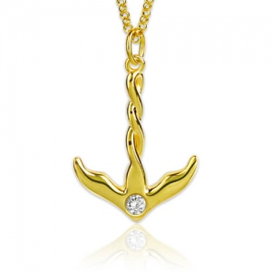 Anchor Birthstone Necklace Gold Plated