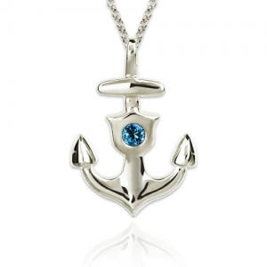 Personalized Anchor Necklace With Birthstone Sterling Silver