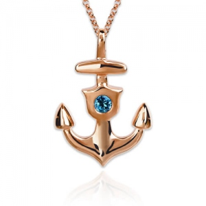 Personalized Anchor Necklace With Birthstone In Rose Gold