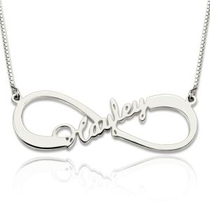 Personalized Single Infinity Name Necklace In Sterling Silver