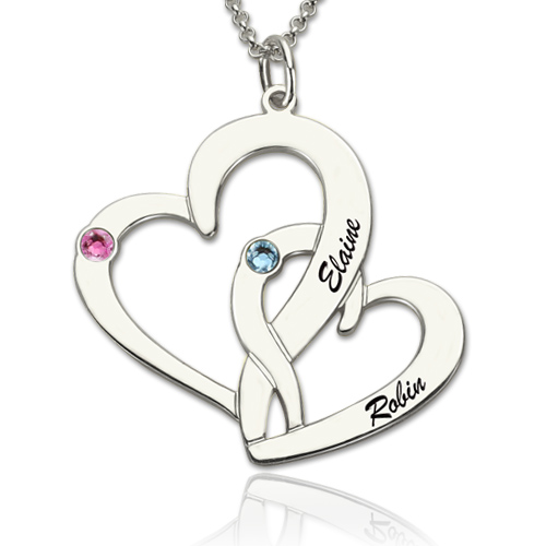 Interlocking 2 open hearts necklace with names birthstones aloadofball Images