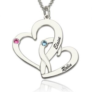 Interlocking Two-Heart Necklace with Names & Birthstones