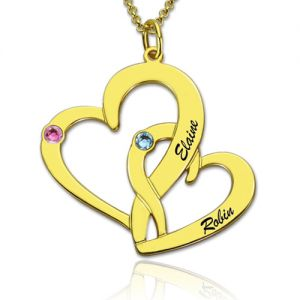 Interlocking Two Hearts Name Necklace with Birthstone Gold