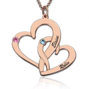 Interlocking Two Hearts Name Necklace with Birthstone Rose Gold