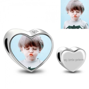 Custom Engravable Heart Kid Photo Charm Sterling Silver