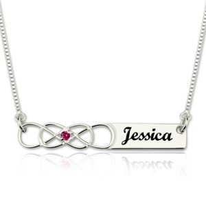Anniversary Bar Name Necklace with Birthstone and Two Infinity
