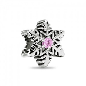 Sterling Silver Snowflake Charm with Birthstone