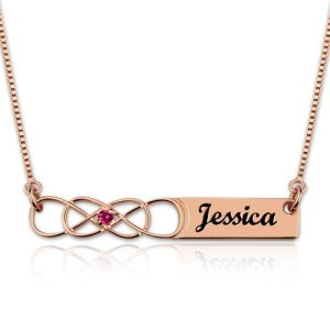 Double Infinity Bar Name Necklace with Birthstone In Rose Gold