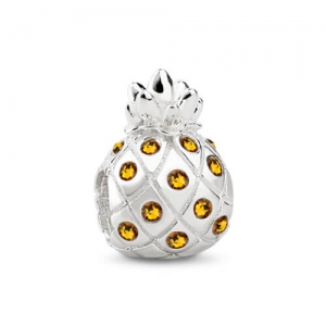 Silver Pineapple Charm with Swarovski Crystals