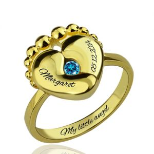 Baby Feet Birthstone Ring For New Mom Gold Plated Silver