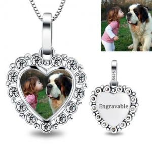 Gedenkgeschenk- Gravierte Halskette mit Herz-Photo