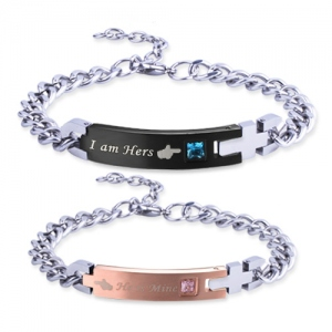 Engraved Cross Couple's Name Bracelet Stainless Steel
