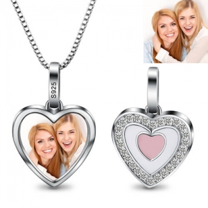 Heart Pendant Photo CZ Necklace Sterling Sliver
