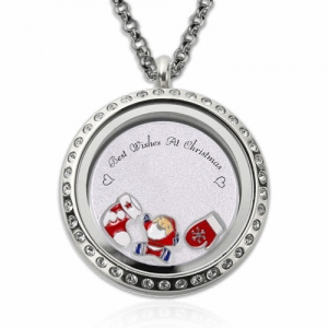 Circle Engraved Christmas Locket Stainless Steel