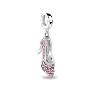 Shining Pink Crystal High Heel Shoe charm
