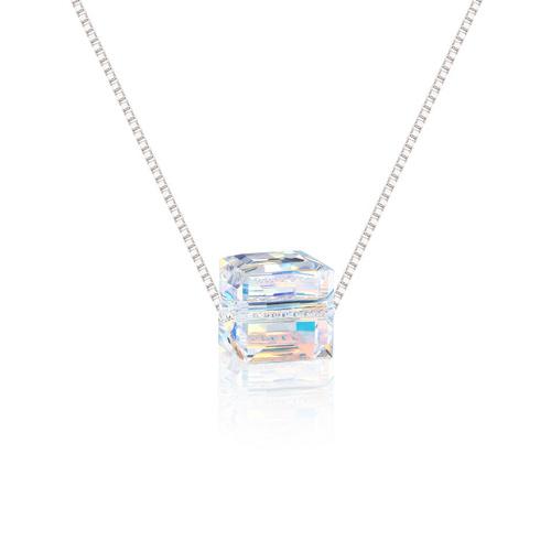 Swarovski Crystal Aurora Cube Necklace | Getnamenecklace
